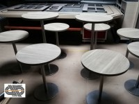 LOT mobilier CHR : 7 tables + 2 manges debout à plateaux ronds Ø 60cm